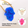 4 colors brass 18inch 8x10mm/11x13mm Hot Sale Copper Materials Hand Opal Necklace Hamsa Opal Pendant for Women FreeShipping