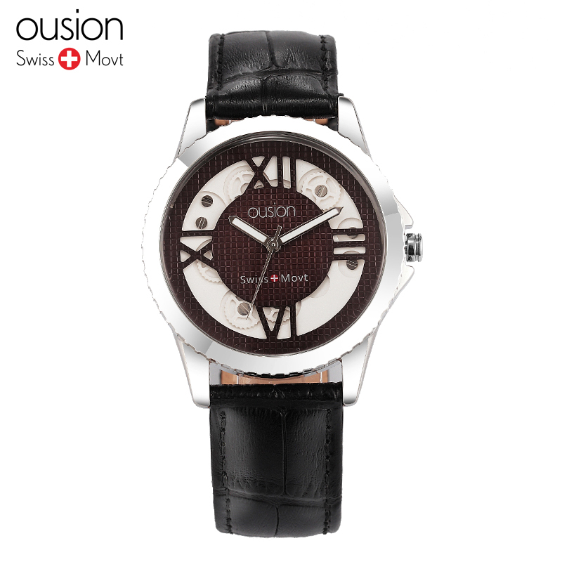 Simple Fashion Ousion Watch 3ATM Business Men Wristwatch Genuine Leather Belt Watches Man Watch font b