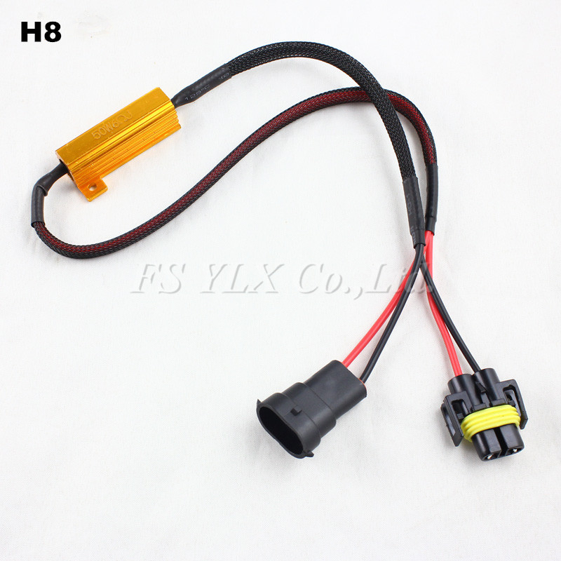 2pcs H7 H8 H9 H11 9005 HB3 9006 HB4 LED Light Fog Xenon HID DRL Lamp Bulb Decoder Resistor Canbus Wire Harness Adapter 50w 6ohm partol h4 h13 h7 h8 h9 h11 hb3 9005 hb4 9006 car led headlight bulbs canbus fog lamp light decoder resistor wire harness adapter