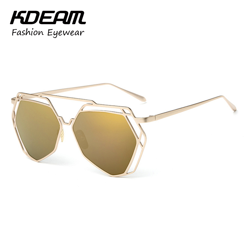 Kdeam Eyewear New Look Lovers Sunglasses Hexagon Brand Designer Women Glasses Hollow Mirror Sunglass Gafas De