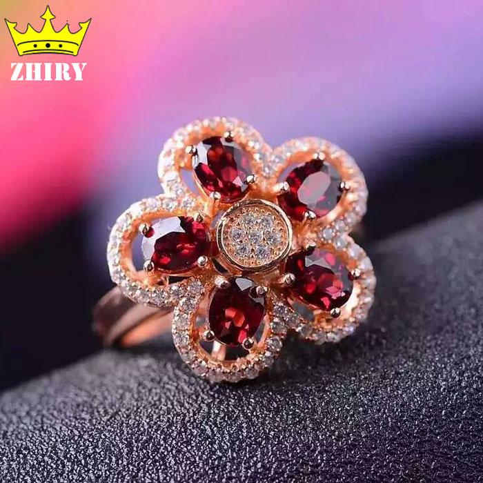 Natural Garnet gems ring Genuine genuine 925 sterling silver woman jewelry stone rings twelve gems