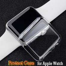 transparent watch screen protect case frame pc case cover for apple watch seris 2 iwatch 38 /42mm watch accessories