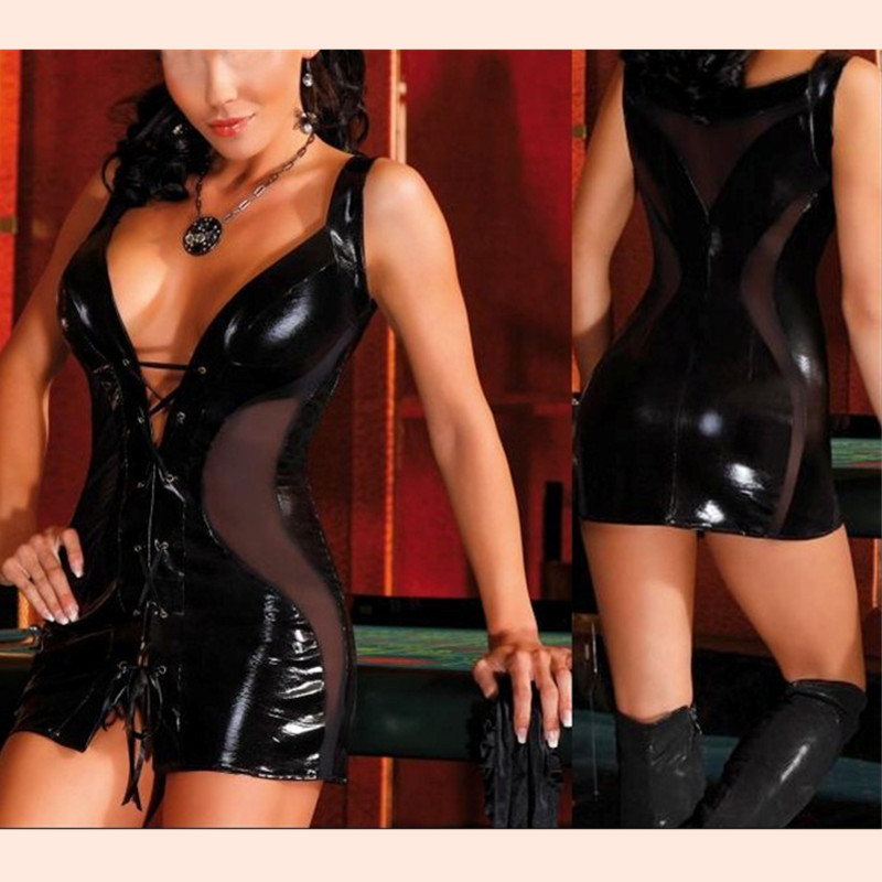 Women Faux Leather Bodycon Fetish Black PVC Bodysuit Open Dress Crotch Lace-Up Porn Teddy Erotic Latex Catsuit