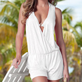 Sexy Women Deep V-Neck Sleeveless Jumpsuit Back Hollw Out Casual Jumpsuit Shorts Rompers Playsuits