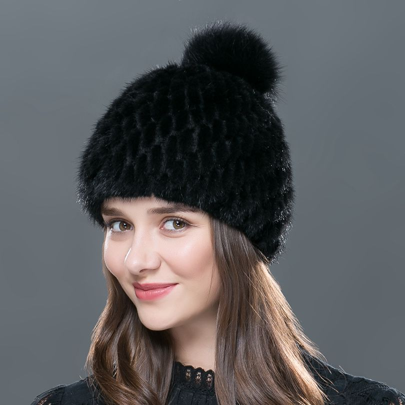 73ecd44c65b Women s hat real mink fur hat in winter and before the silver fox ...