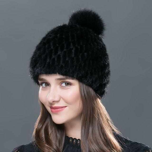 LTGFUR Реального норки меховая шапка шапки вязаные женские зимние норковая шапка мех лисы пом англичане новая крышка 2016 новый горячая продажа высокого качества шапка женская