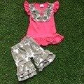 2016 meninas de verão outfit hot rosa veado conjunto venda quente do bebê crianças boutique 1 - 9 anos de idade meninas roupas top e short set