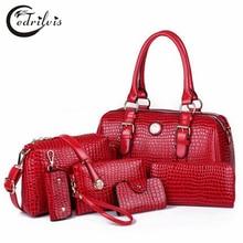Crocodile Grain Composite Women Shoulder Bag W397 High-grade Pu Leather Big Handbag Crocodile Grain Composite Women Shoulder Bag