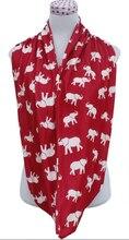 Вязать хлопковый трикотаж красный белый животных слон бесконечность шарф круг шарфы кольцо DST шарф дельта сигма тета вдохновили подарок