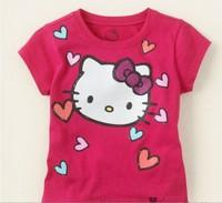 бесплатная доставка! 5 шт./лот ребенков тис привет котенок майки с коротким рукавом футболка мультфильм рубашки фиолетовый / красный цвет летней одежды
