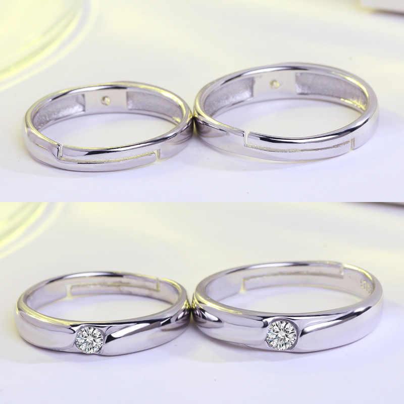 925 Мода 2017 серебро-ювелирные изделия один Кристалл Кольца для влюбленных claddagh женщин и мужские обручальные кольца JZ37