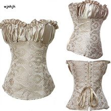 Sexy Grey Embroidered Gothic Zipper Vintage Steampunk Corset Slimming Body Shaper Corselet Overbust Steampunk Clothing S