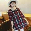 Женская Одежда Старинные Плед Блузка Топы Хлопок Половина рукавами Беременности Основные Рубашки Беременных Одежда Плюс Размер 3669