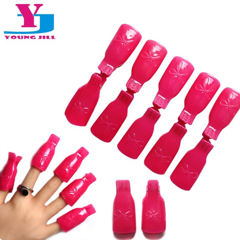 10 st / Set New Nail Gel Polska Remover Wraps Högkvalitativ Plast Nail Art Suga Av Cap Clip Removal Nail Tools UV Gel Cleanser