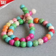 Hot Sale Wholesale 8mm Multicolor Turkey Stones Parts Accessories DIY Round Loose Beads 15inch Jewelry Making Make Design Gift