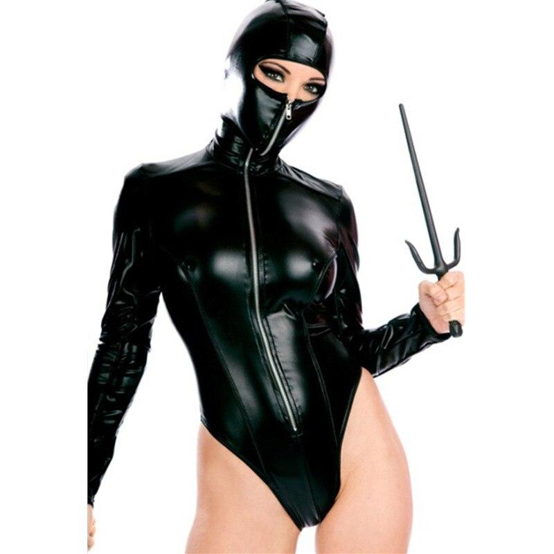 Women Halloween Cosplay Leather Costume Ninja Hooded Jumpsuits Black Latex Bodysuit Nightclub Bar DS Clothing