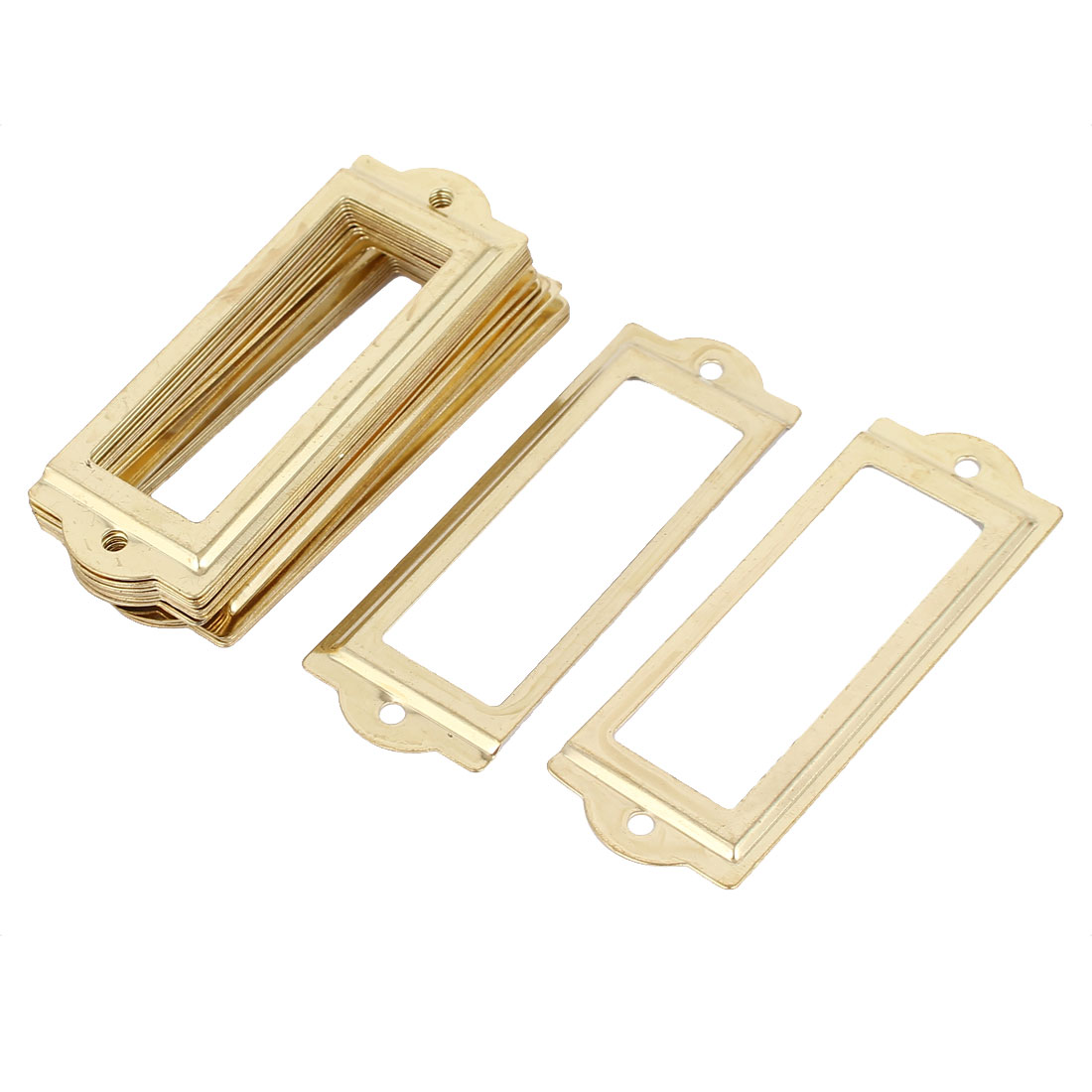 UXCELL 83Mmx30mm Office Drawer Cabinet Label Pull Holder Frame Gold Tone 20Pcs