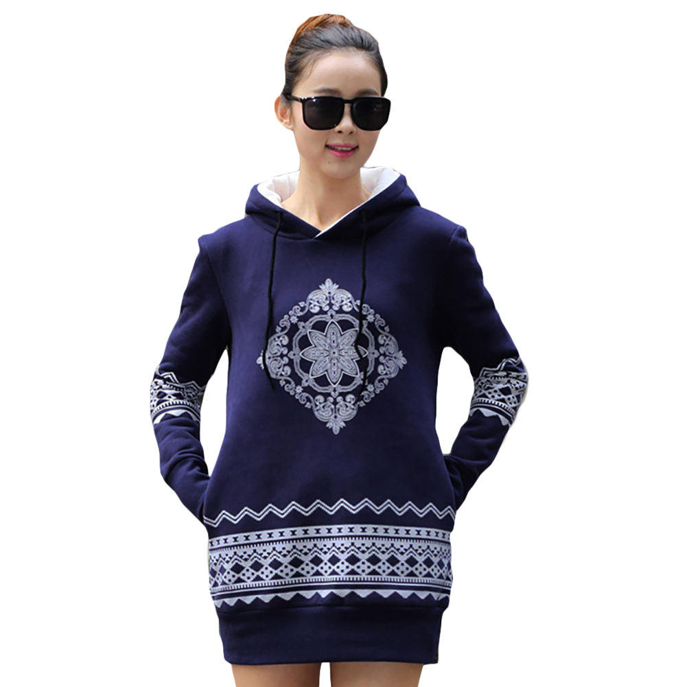Plus Size S-XXXL New Women National Wind Printed Fleece Pullovers Thick Warm Long Hoodies