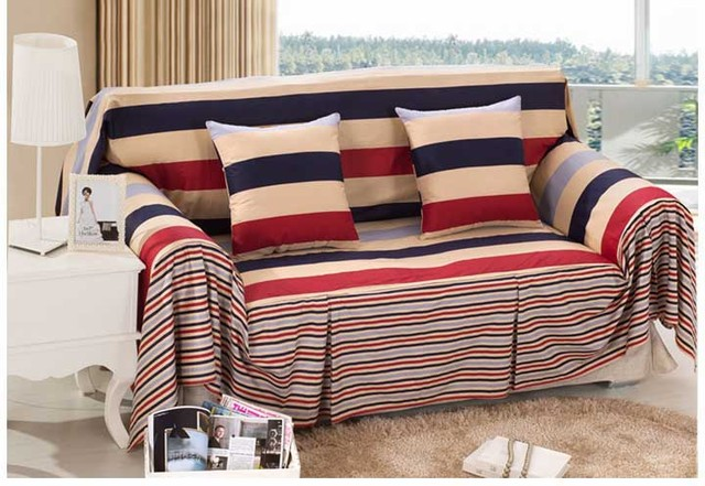 Amazing Hot Sale Cotton Striped Sofa Cover Modern Style Sectional Sofa Covers I  Shaped Couch Cover Kb02