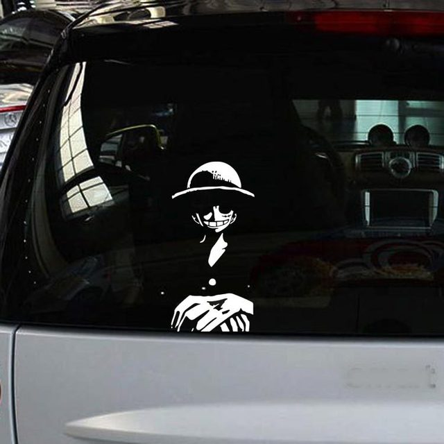1PC 19*9cm One Piece Car Stickers Cartoon Luffy Reflective Vinyl Car Styling Waterproof  Truck Decor  Car Body Car Accessories