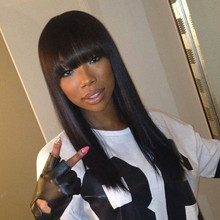 Full Lace Human Hair Wig With Full Bangs Glueless Lace Front Wig with Full Bangs Natural Hairline with Baby Hair Bleached Knots
