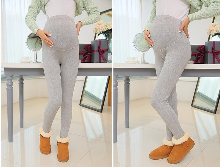 Women Clothing High Waist Leggings Maternity Clothes Winter Leggings Thickened With Velvet Pregnant Women Trousers Warm Pants 5