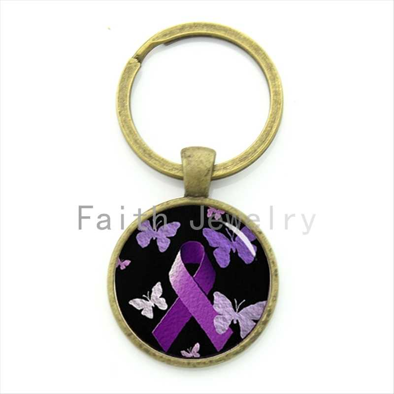 Tafree charming roxo consciência fita imagem chaveiro romântico misterioso bonito borboleta padrão chaveiro jóias kc491