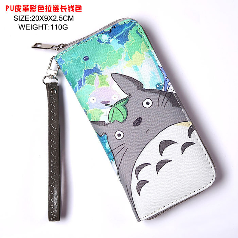 Anime My Neighbor Totoro Colorful Cool PU Wallet Printed with Totoro Long Style Purse with Zipper сарафан baon цвет ментоловый b467007 amazonite размер l 48