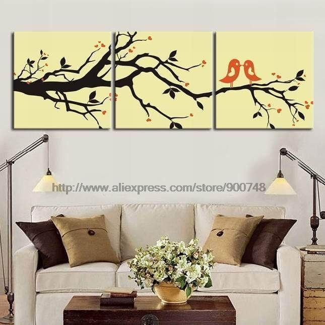 Abstract Modern Wall Deco Love Birds Oil Painting Classic ...