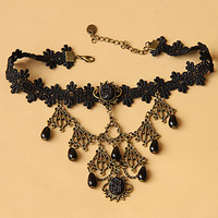 Victorian Retro Balck Lace Choker Necklace with Beaded Pendants