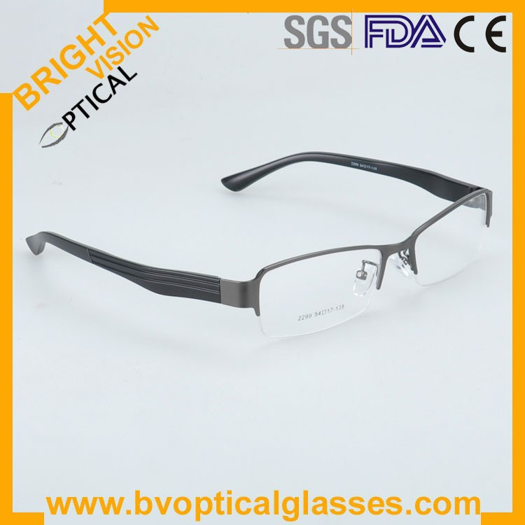 2299greyside Factrory price half rim vintage optical frames eyewear glasses
