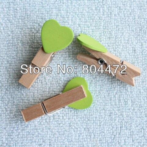 2000 Мини Милая мультяшная Зеленая форма персикового сердечка деревянные клипсы   Peg   для праздника Рождественский Декор
