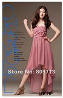 новый женский bohenmia плиссе волны принцесса шифон длиной макси платье платье розовый и черный