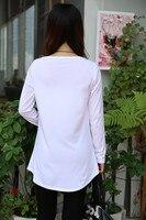 321 женщины черный белый печать длинный рукав т рубашки весна осень без тары платье блузы топы тис м, L, хl