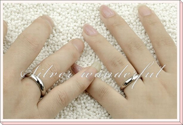 No Stone Pure 925 Silver Simple Circle Shaped Couple Wedding Ring