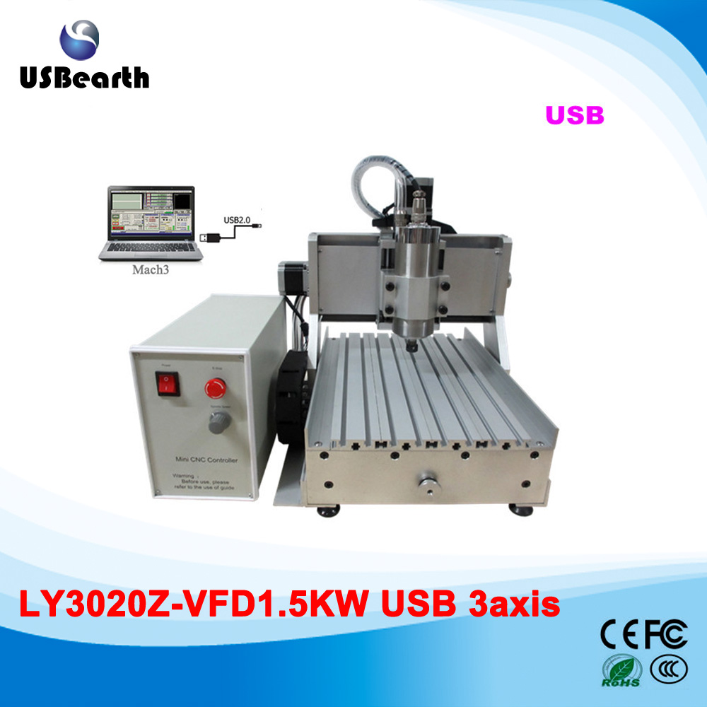 LY 3020Z-VFD1.5KW USB 3axis CNC carving machine assembled with 1.5kw VFD water cooling spindle to Russia free tax no tax to russia high precision china cnc machine 6040 3axis usb with 1 5kw vfd water cooling spindle mach3 remote control