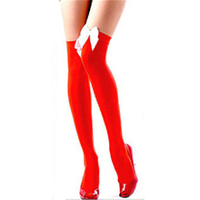 Hot Sexy Lady Women Girl Patchwork Over The Knee High Socks Stockings Tights With Bows Thigh