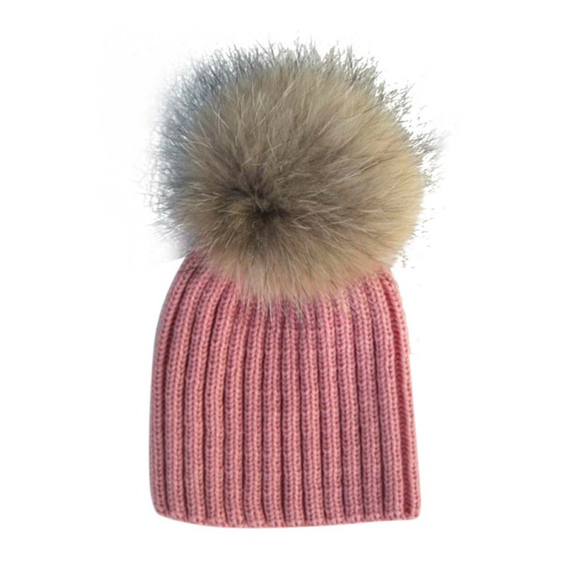2016 Fashion Cute Children Winter Raccoon Fur Hats 100% Real 15cm Fur pompom Beanies Cap Natural Fur Hat For Kids Children natural fur beanie hat for women winter luxury fox fur top hat beanies thicken knitting lined female newest hats cap