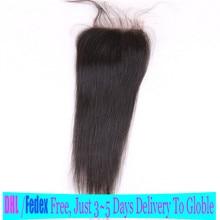 11 11 Hot Saling 100% Virgin Brazilian Human Hair Jet Black 1# Straight Lace Closure With Dark Black Lace For Black Women
