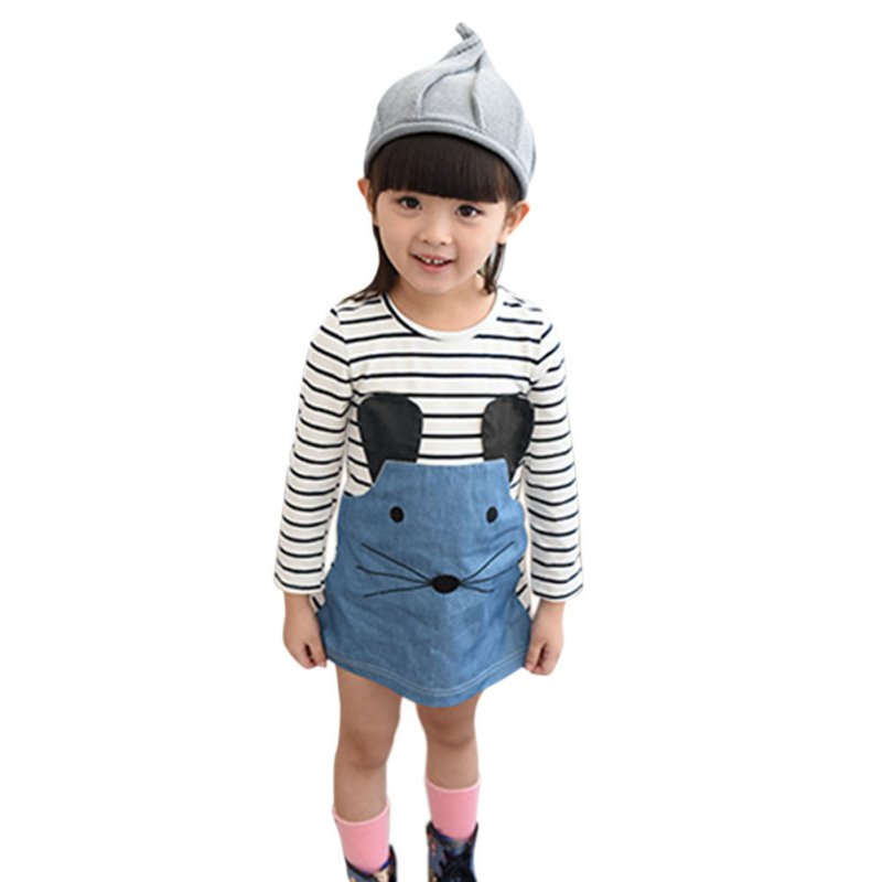 Cotton+Polyester Striped Patchwork Character Girl Long Sleeve Cute Mouse Children Clothing Kids Girls Dress Denim Kids Clothes