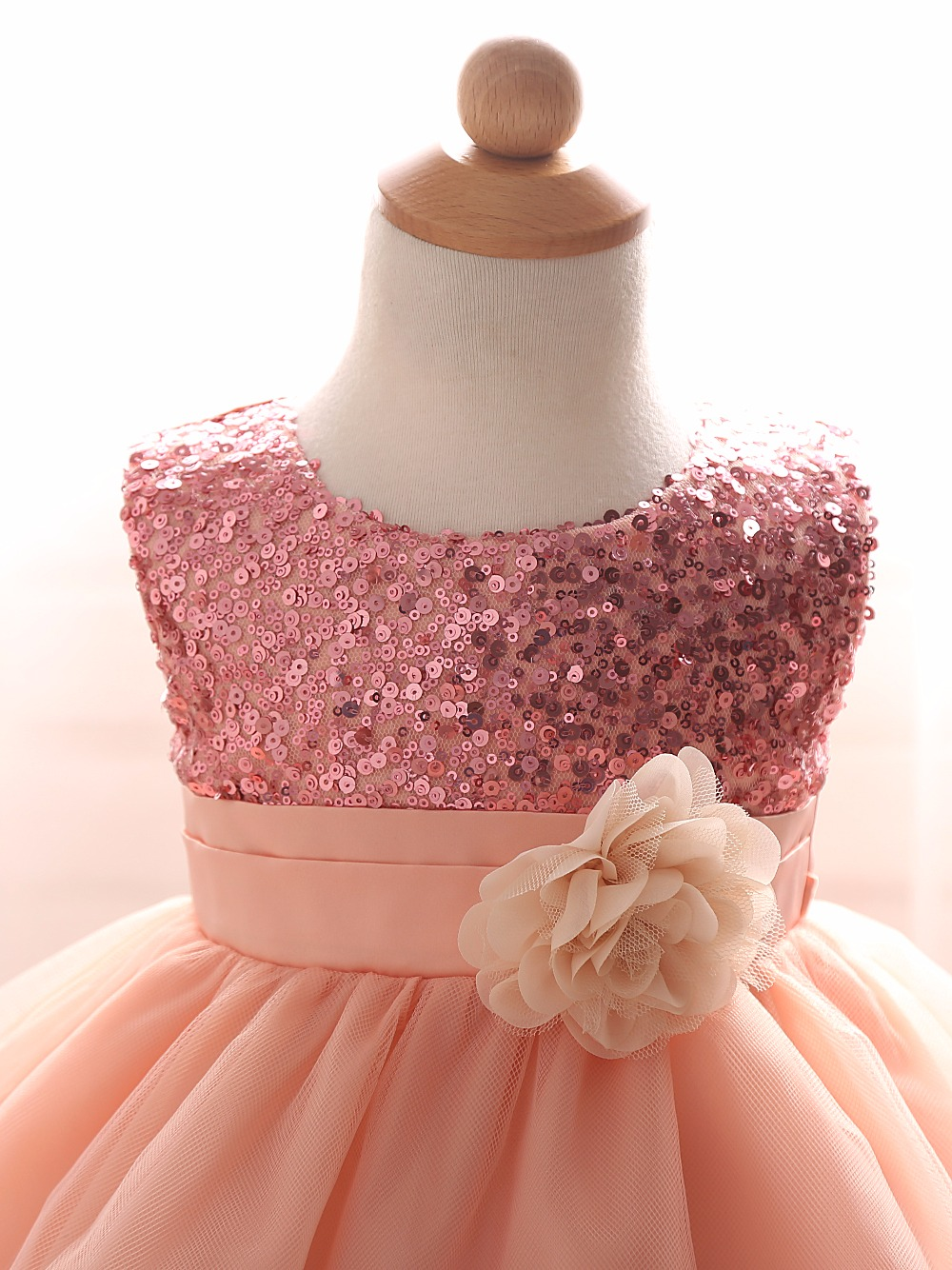 4cec480ce Newborn Baby Girl Dress For Girls Ceremonies Party Wear Flower Ribbon Bow  Kids Dresses Sequined Formal Dress For Toddler 0-2Yrs