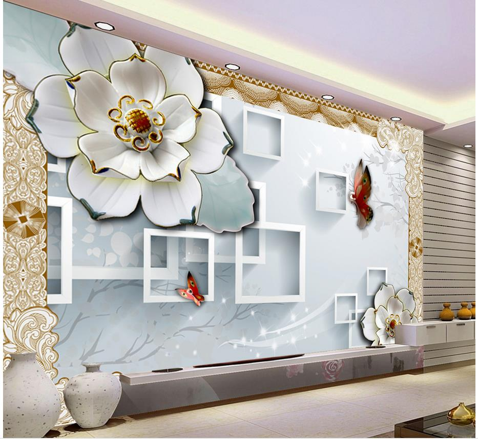 3d Block Tv Backdrop Embossed Flowers Papel Parede Mural