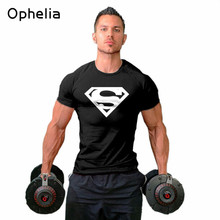 Superman short sleeved male tight fitting T shirt Fitness loose large size Europe Bodybuilding elasticity men t shirt