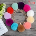 16 Colors 7cm Genuine Rex Round Fur ball Keychain Gold Plated POMpom Fluffy Bag Car Key Purse Charm Accessories XL0481 A1