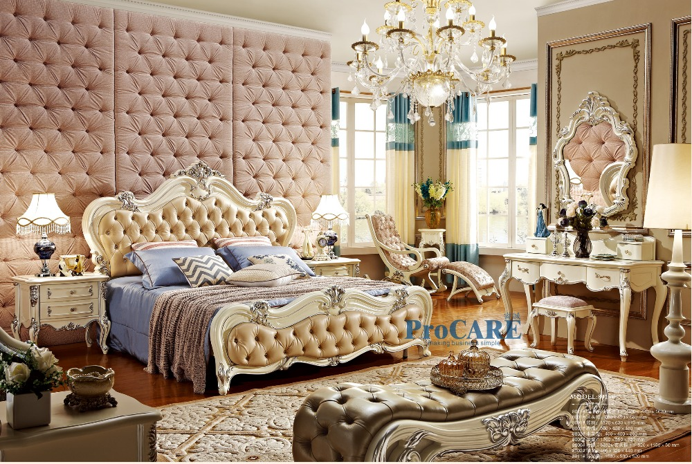 European Antique Style Home Furniture Queen Size Beds 1.8
