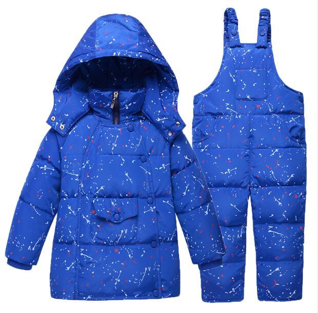Kız çocuklar Için Giyim Kış Down Ceketler Erkek Sıcak Ceket Snowsuit Çocuk Giyim Giyim Seti Kapüşonlu Baskı Tulum Jum S08