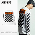 HEYBIG Men Streetwear Diagonals Tee 2016 S/F off white Long Sleeve t Shirt Hip hop Bottoming T-shirt Cotton Tops Chinese SIZE