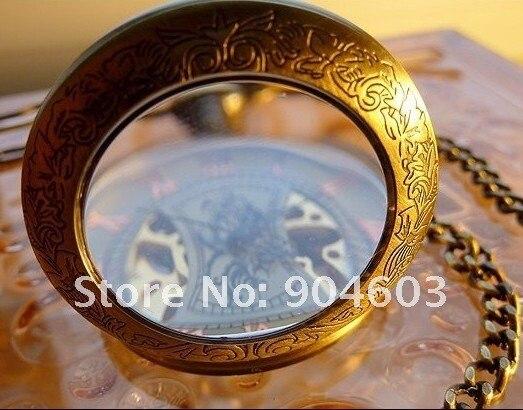 8017) 10 шт./лот стимпанк Скелет увеличительное Дело Механические мужские карманные часы
