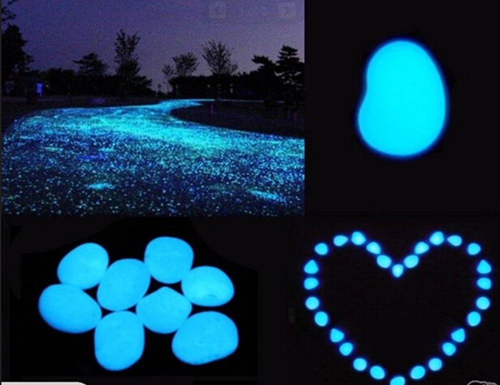 1 X Pack Of Blue Glow In The Dark Pebbles 100pcs