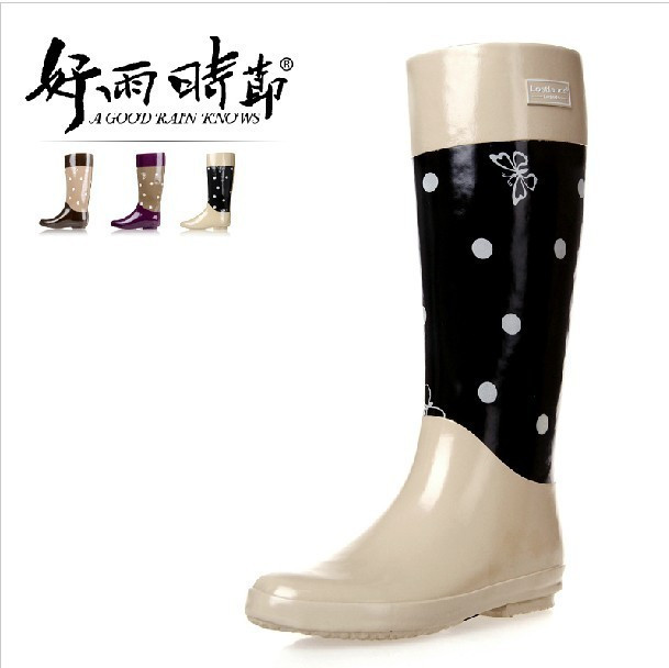 Womens GUMBOOTS RAIN BOOTS VINTAGE DOTS Beige Purple Coffee ...